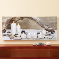 Lighted Zen Candles Wall Canvas
