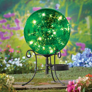 Faux Mercury Solar Gazing Ball with Stand - 38381