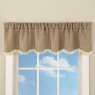 Rustic Burlap Lace Window Valance