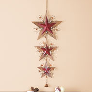 Hanging Country Barn Stars with Bell - 38423