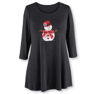 Holiday Snowman Embellished Tunic - 38548