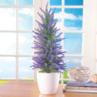Faux Lavender Tree in White Pot