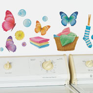 Colorful Butterfly Laundry Wall Decals - 38600