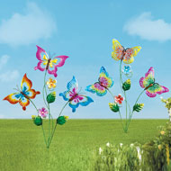 Flying Butterfly Garden Stakes - Set of 2