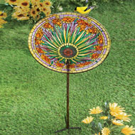 Colorful Floral Birdbath - 38662