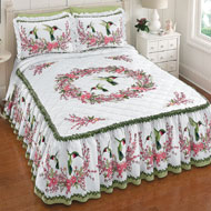 Hummingbirds & Floral Wreath Bedspread - 38711
