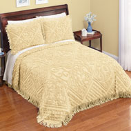 Lattice Chenille Bedspread with Fringe Border - 38753