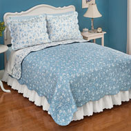 Reversible Floral Quilt with Scalloped Edges - 38759