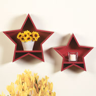 Red Wooden Stars Wall Shelf - Set of 2 - 38811