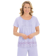 Embroidered Border Pajama Set - 38823