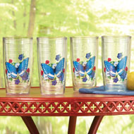 Insulated Blue Butterfly Tumblers - Set of 4 - 38841