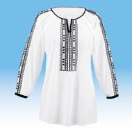 Embroidered Lightweight Crinkle Tunic