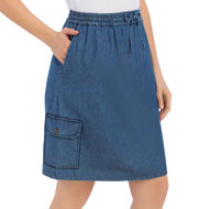 Denim Skort with Cargo Pocket