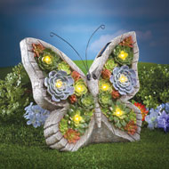 Faux Succulent Garden Butterfly with Solar Lights - 38916