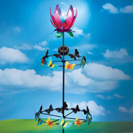 Flower and Butterfly Wind Spinner Solar Light Stake