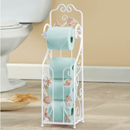 Shell Toilet Paper Holder with Storage Stand - 38975
