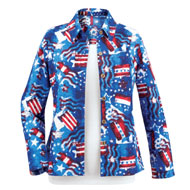 Patriotic Flags and Stars Canvas Jacket
