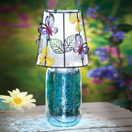 Mercury Glass Butterfly Solar Lamp - 39157