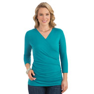 Ruched Surplice 3/4 Sleeve Top