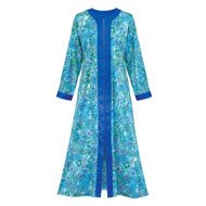 Zip Front Floral Long Robe - 39258