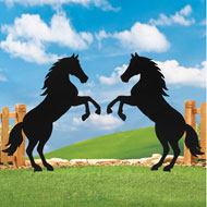 Silhouette Horse Garden Stakes - Set of 2 - 39343