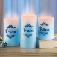 LED Blue Inspirational Candles - Set of 3 - 39380