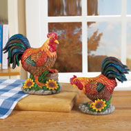 Country Rooster Figurines - Set of 2