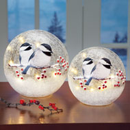 Lighted Chickadee Tabletop Glass Ball - 39407