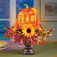 Lighted Pumpkin Harvest Floral Arrangement - 39450