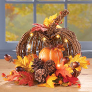 Lighted Pumpkin Harvest Tabletop Arrangement - 39454
