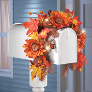 Solar Autumn Sunflower Harvest Mailbox Swag - 39456