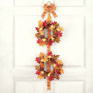 Lighted Fall Leaves Double Wreath
