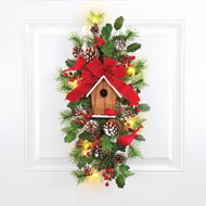 Cardinal Birdhouse Lighted Christmas Swag - 39472