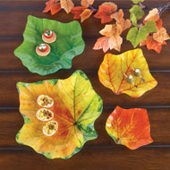 Colorful Glass Leaf Plates - Set of 4