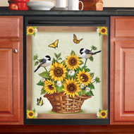 Sunflowers and Birds Dishwasher Magnet
