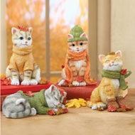 Fall Cat Sitters - Set of 4 - 39540
