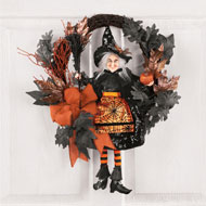Orange & Black Glittery Witch Halloween Wreath - 39588
