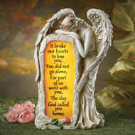 Crying Angel Solar Memorial Garden Stone - 39652