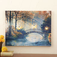 Lighted Autumn Bridge Scene Canvas