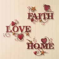 Metal Home, Love and Faith Wall Art - 39708