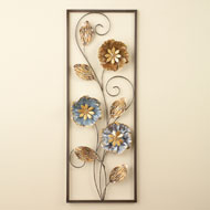 Metallic Flowers and Leaves Wall Decor