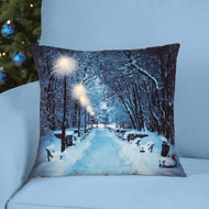 Lighted Winter Scene Accent Pillow