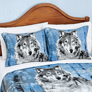 Winter Wolf Fleece Pillow Sham Set - 39803