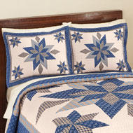 Navy Star Patchwork Pillow Sham