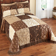 Mocha Patchwork Chenille Bedspread - 39832
