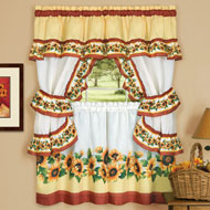 Charming Sunflower Garden Cafe Curtain Set - 39876