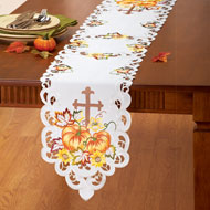 Embroidered Pumpkin and Cross Table Linens - 39895