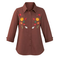 Embroidered Fall Leaves Button Down Shirt - 39897
