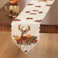 Embroidered Deer Harvest Table Linens - 39903