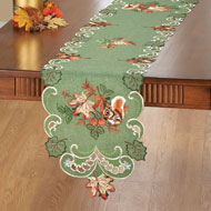 Embroidered Squirrel and Leaves Table Linens - 39907